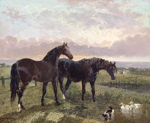 Famous paintings of Ducks: Two horses grazing at sunset