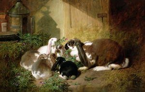 Realism painting reproductions: A lop-eared doe rabbit with her young