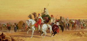 Famous paintings of Camels: An Arab caravan