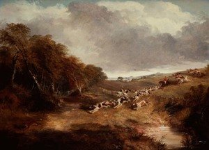 Famous paintings of Palisades: The Cambridgeshire Hunt: Full Cry, 1845