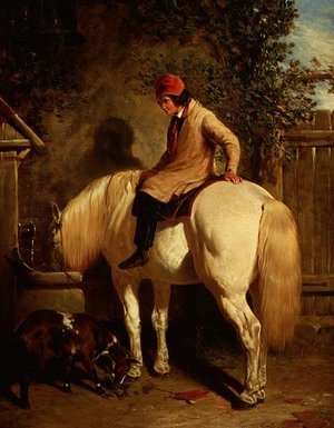 Famous paintings of Palisades: A Corner of a Farmyard with a Boy Sitting on a Grey Horse and a Goat eating nearby