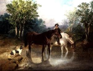 Two horses, a man and a dog by a stream