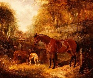 Famous paintings of Palisades: A saddled bay pony and greyhounds in a wooded river landscape