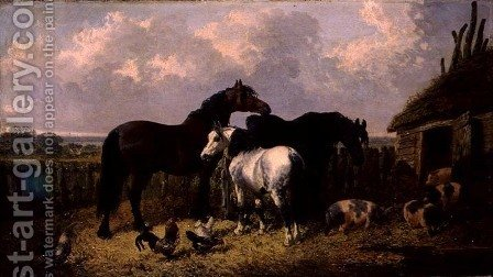 Horses and Pigs, 1864 by John Frederick Herring, Jnr. - Reproduction Oil Painting