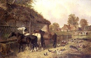 Famous paintings of Ducks: Three Horses at a Manger