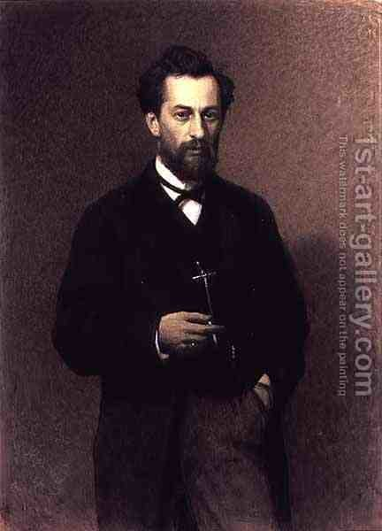 Portrait of Mikhail Konstantinovich Klodt (1832-1902), 1871 by Ivan Nikolaevich Kramskoy - Reproduction Oil Painting