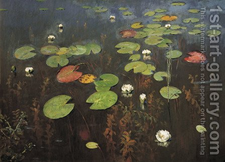 Water Lilies 1895 by Isaak Ilyich Levitan - Reproduction Oil Painting