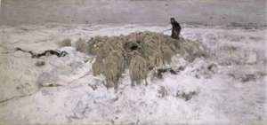 Anton Mauve reproductions - Flock of Sheep in the Snow