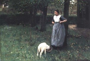 Reproduction oil paintings - Anton Mauve - Larener Woman with a Goat, c.1885