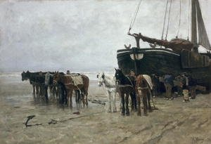 Anton Mauve reproductions - Boat on the Beach at Scheveningen, 1876