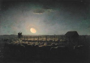Famous paintings of Palisades: The Sheepfold, Moonlight, 1856-60