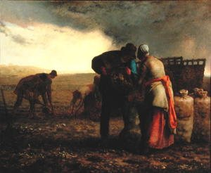 Realism painting reproductions: The Potato Harvest, 1855