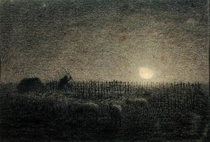 Famous paintings of Palisades: The Shepherd at the Fold by Moonlight