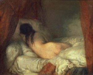 Reproduction oil paintings - Jean-Francois Millet - Reclining Female Nude, c.1844-45