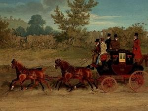Famous paintings of Palisades: The Exeter Royal Mail on a country road