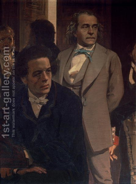 Anton Grigoryevich Rubinstein (1829-94) and Alexander Nikolayevich Serov (1820-71), from Slavonic Composers, 1890s (detail) by Ilya Efimovich Efimovich Repin - Reproduction Oil Painting
