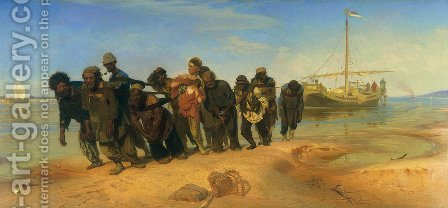 Ilya Efimovich Efimovich Repin: Barge Haulers on the Volga - reproduction oil painting