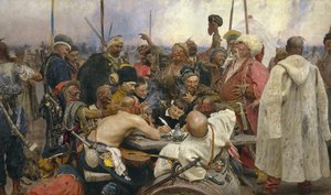 Famous paintings of Military: The Zaporozhye Cossacks writing a letter to the Turkish Sultan, 1890-91
