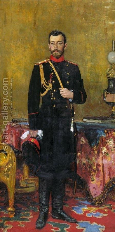 Portrait of Emperor Nicholas II (1868-1918) 1895 by Ilya Efimovich Efimovich Repin - Reproduction Oil Painting