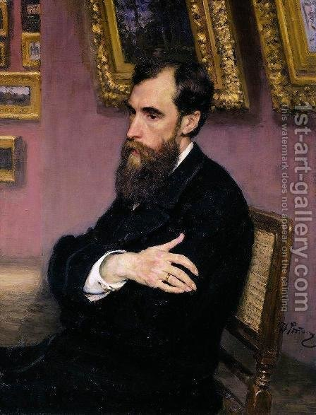 Portrait of Pavel Tretyakov (1832-98) the founder of the State Tretyakov Museum, 1883 by Ilya Efimovich Efimovich Repin - Reproduction Oil Painting