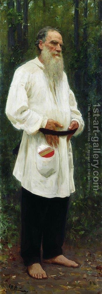 Portrait of Lev Tolstoy (1828-1910) 1901 by Ilya Efimovich Efimovich Repin - Reproduction Oil Painting