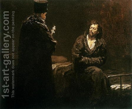 Refusal of Confession, 1879-85 by Ilya Efimovich Efimovich Repin - Reproduction Oil Painting
