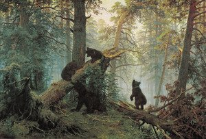 Famous paintings of Trees: Shishkin's landscape Morning in the Pine Forest (1886)