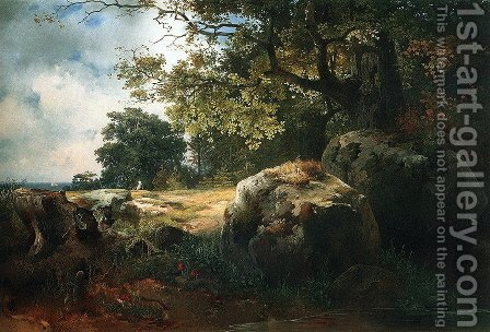 View in the Neighborhood of Oranienbaum (1854) by Alexei Kondratyevich Savrasov - Reproduction Oil Painting