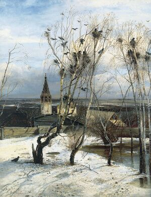 Famous paintings of Villages: The Rooks have Returned, 1871