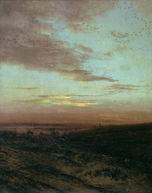 Realism painting reproductions: Evening, Migration of birds, 1874