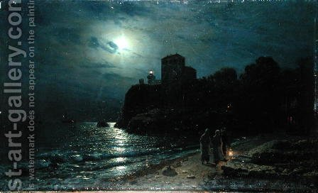 Moonlight on the Edge of a Lake, 1870 by Alexei Kondratyevich Savrasov - Reproduction Oil Painting