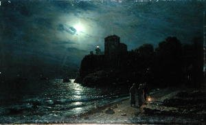 Realism painting reproductions: Moonlight on the Edge of a Lake, 1870