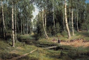 Naturalism painting reproductions: In The Birch Tree Forest, 1883