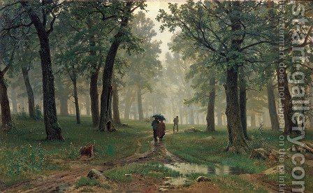 Rain in an Oak Forest by Ivan Shishkin - Reproduction Oil Painting