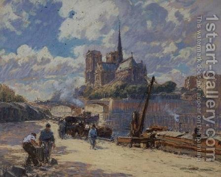 View of Notre Dame from the Seine by Henri Alphonse Barnoin - Reproduction Oil Painting