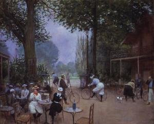 Famous paintings of Bicycling: The Chalet du Cycle in the Bois de Boulogne, c.1900