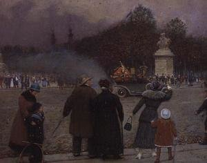 Famous paintings of Cars: The German Flag Taken to Les Invalides, c.1914