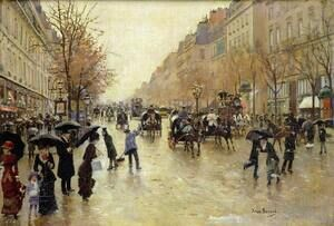Famous paintings of Trees: Boulevard Poissonniere in the Rain, c.1885