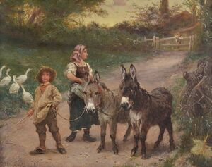 Famous paintings of Palisades: Peasant Children with Donkeys