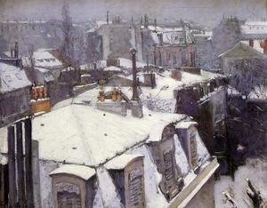 Famous paintings of Winter: Vue toits, effet de neige (1878)