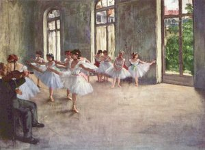 Famous paintings of Studios and Workshops: Ballet Rehearsal, 1873