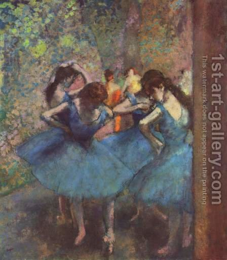 Dancers in blue, 1890 by Edgar Degas - Reproduction Oil Painting