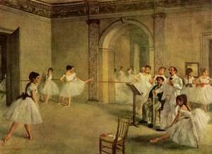 Famous paintings of Furniture: The Dance Foyer at the Opera on the rue Le Peletier, 1872