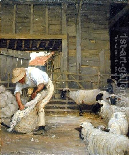 Sheep Shearing by Alexander Mann - Reproduction Oil Painting