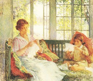 Willard Leroy Metcalf reproductions - Painting My Wife and Daughter (1917-1918)