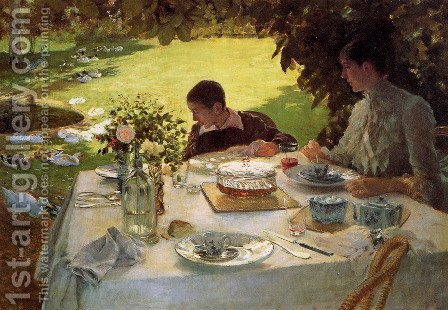 Breakfast in the Garden, 1883 by Giuseppe de Nittis - Reproduction Oil Painting