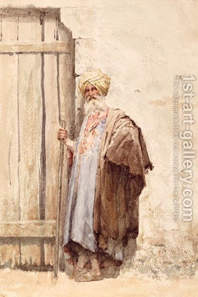 An arab by a doorway by Giuseppe de Nittis - Reproduction Oil Painting