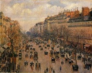 Famous paintings of Trees: Boulevard Montmartre, Afternoon Sun, 1897