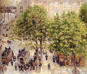 Famous paintings of Trams: Place du Theatre-Francais, Spring, 1898