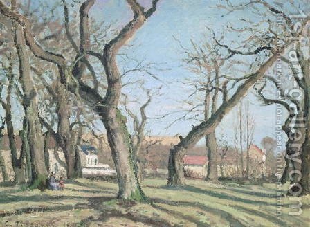 Chestnut Trees at Louveciennes, 1872 by Camille Pissarro - Reproduction Oil Painting